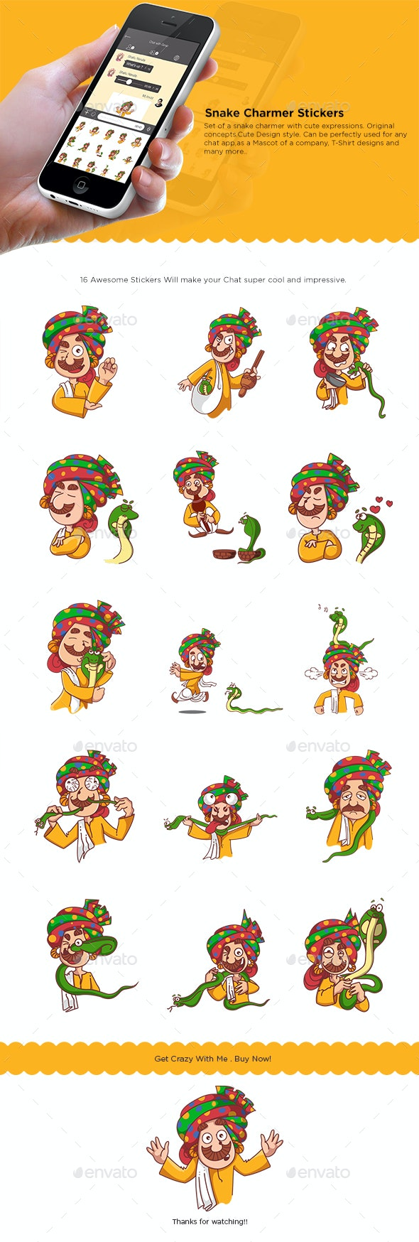 Snake Charmer Sticker Set - People Characters