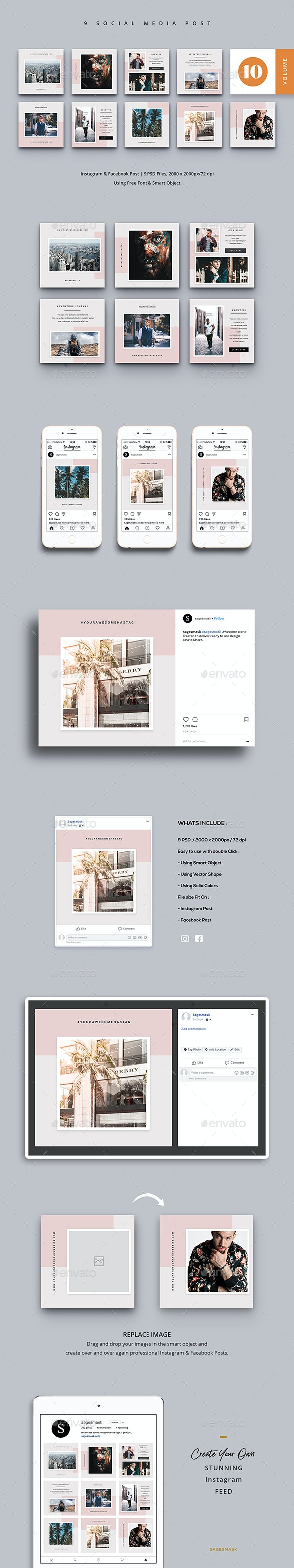Social Media Post Vol. 10 - Social Media Web Elements