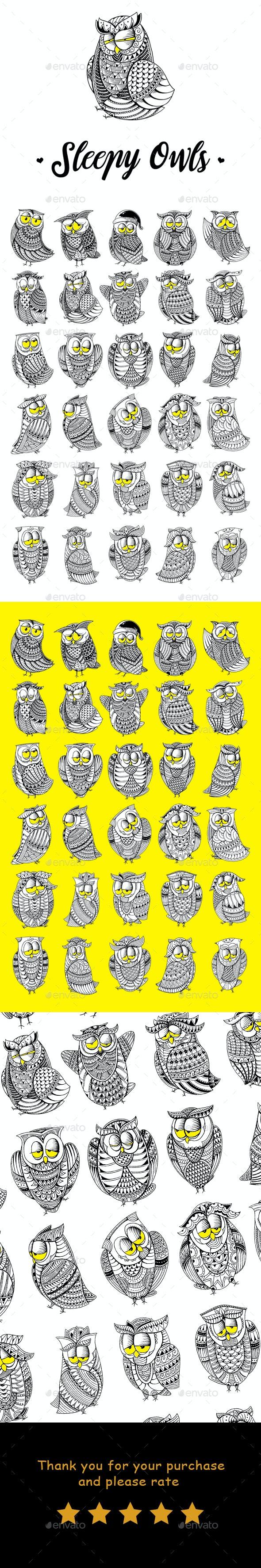 Sleepy Owls - Animals Illustrations