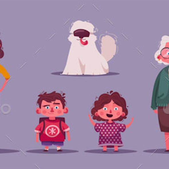 Family Together Character Design