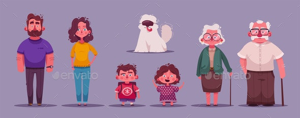 Family Together Character Design - Animals Characters