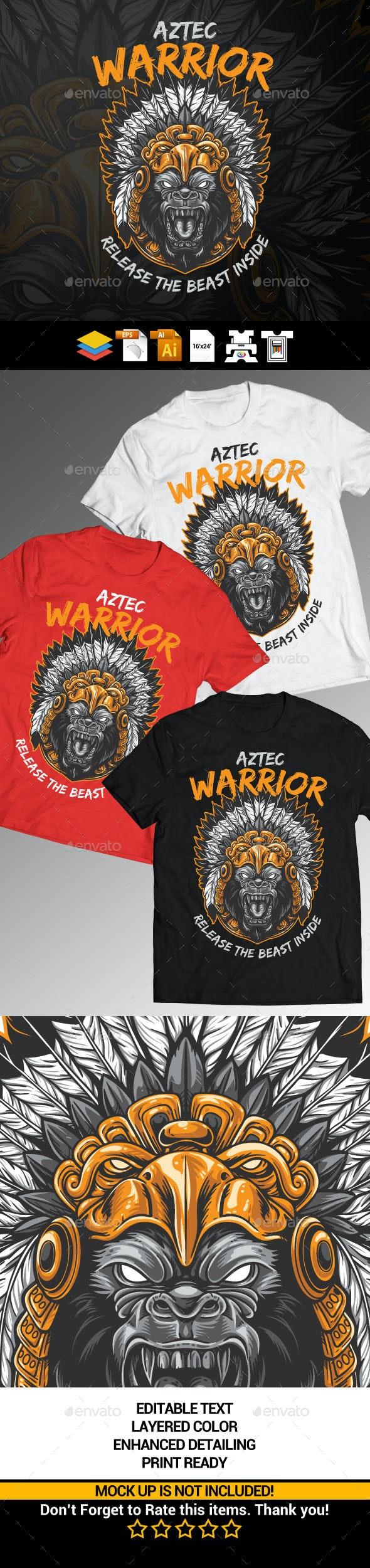 Gorilla Aztec Warrior - Grunge Designs