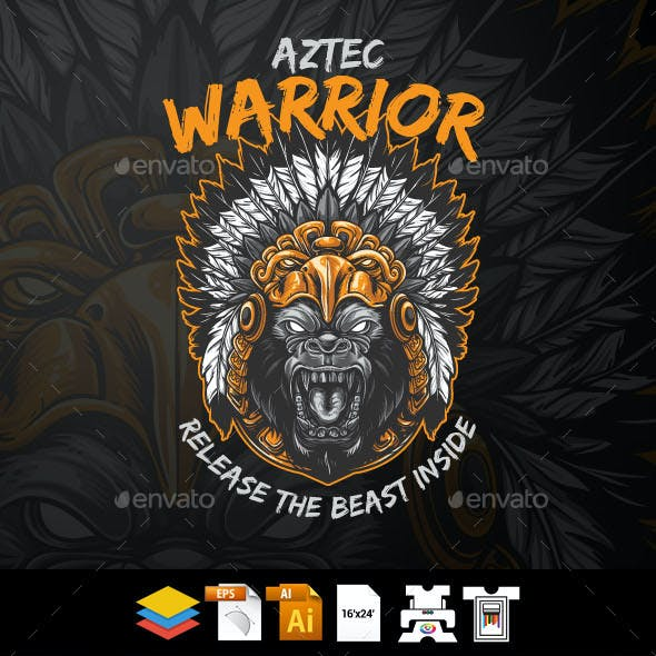 Gorilla Aztec Warrior
