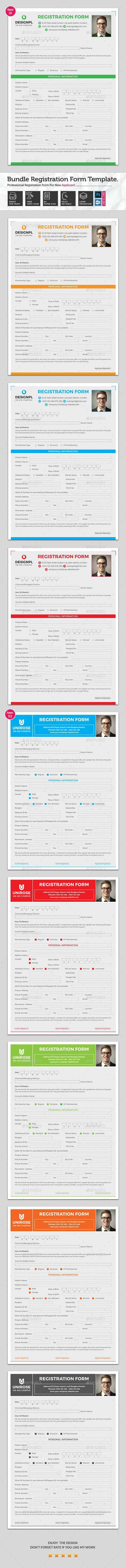 Registration Form Bundle - Miscellaneous Print Templates