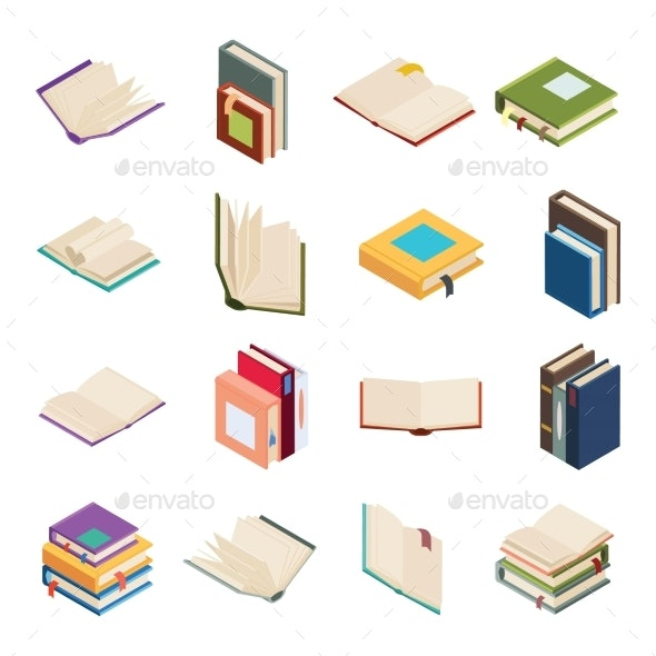 Isometric Open Books Stack Isolated Education - Miscellaneous Vectors