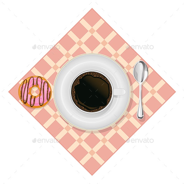Breakfast Coffee Cup and Donut - Food Objects