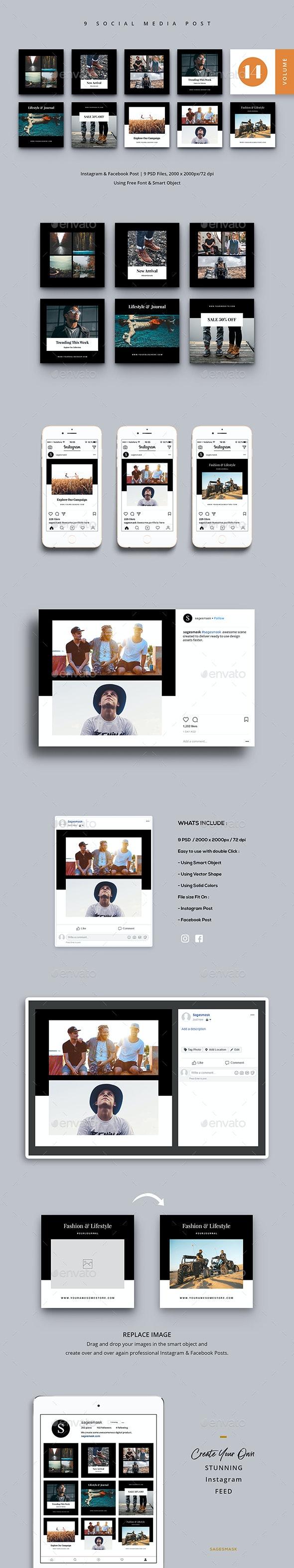 Social Media Post Vol. 14 - Social Media Web Elements