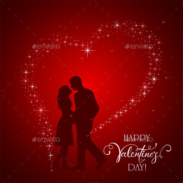 Valentines Day Background with Man and Woman - Valentines Seasons/Holidays