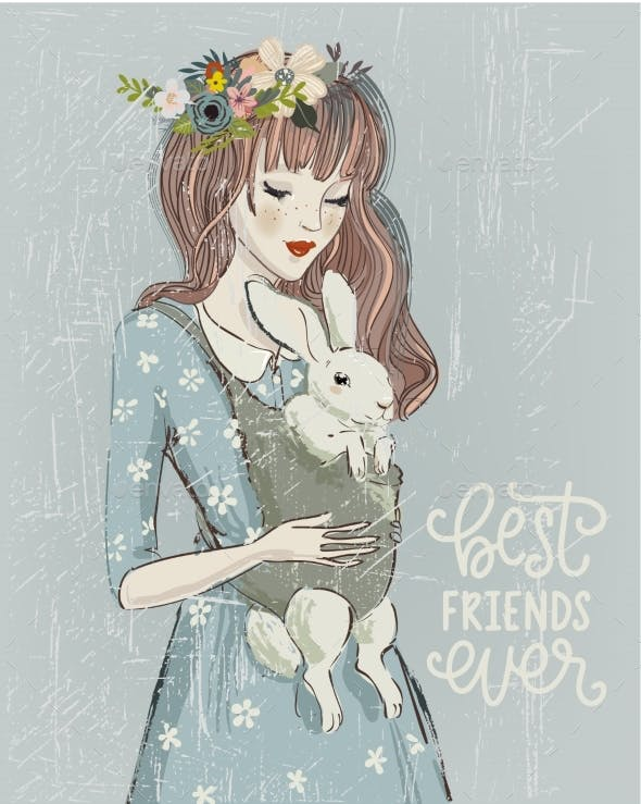 Young Woman with a Rabbit