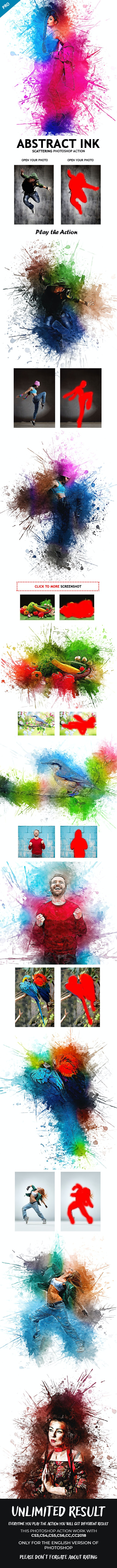 Abstract Ink Scattering Photoshop Action - Photo Effects Actions