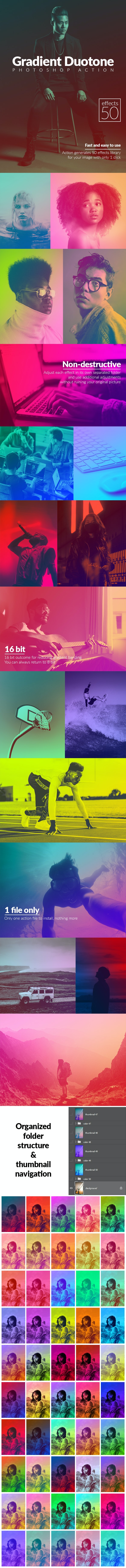 50 Gradient Duotone Effects Photoshop Action - Photo Effects Actions