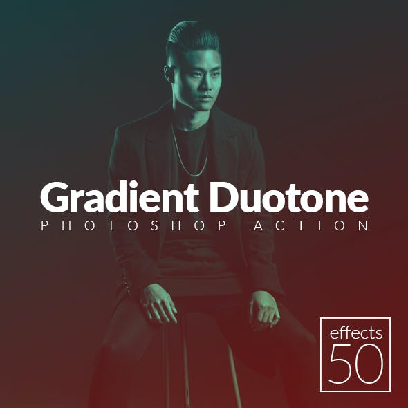 50 Gradient Duotone Effects Photoshop Action