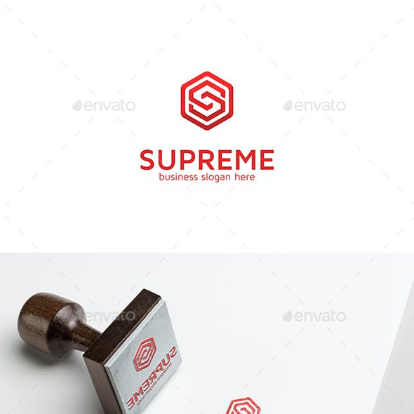 Supreme S Letter Logo in Hexagon Form