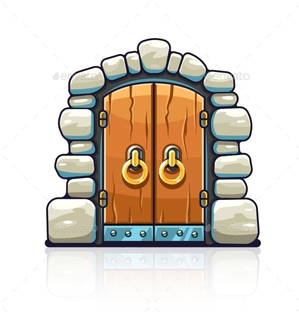Fairy-Tale Door with Golden Handles Entrance - Miscellaneous Vectors