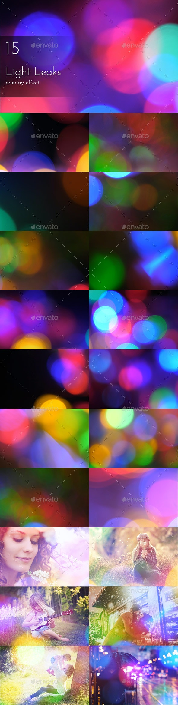 Light Leaks Overlays - Artistic Photo Templates
