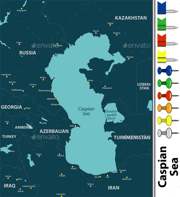 Map of Caspian Sea - Travel Conceptual