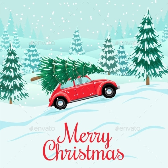Red Auto with Christmas Tree on Roof - Christmas Seasons/Holidays