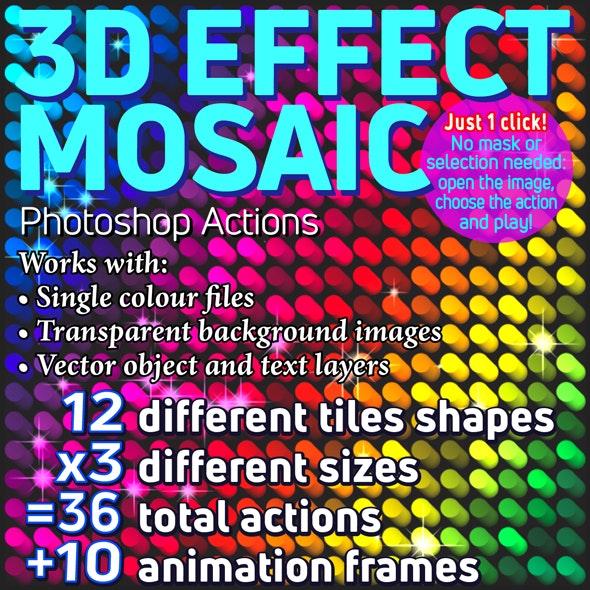 3D Effect Mosaic Photoshop Actions - Actions Photoshop