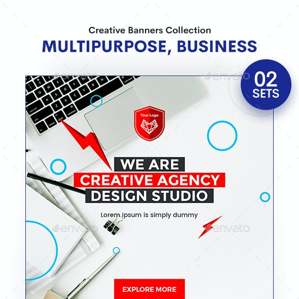 Multipurpose, Business, Startup Banners Ads - 02 Sets