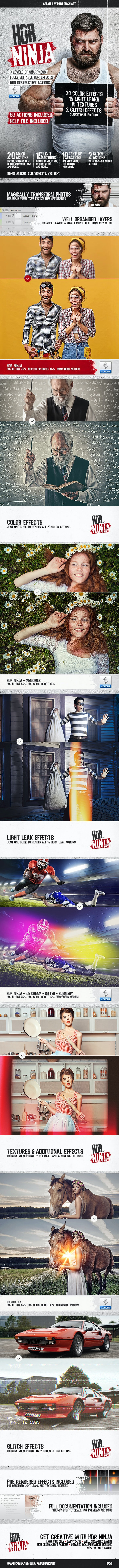 HDR Ninja - 50 Photoshop Actions - Photo Effects Actions
