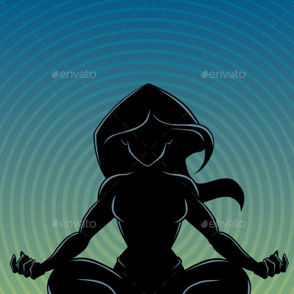 Meditating Woman Background Silhouette