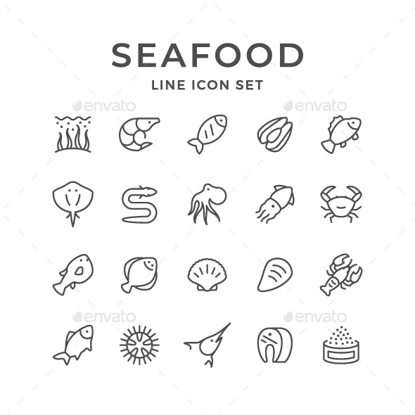Set Line Icons of Seafood - Man-made objects Objects