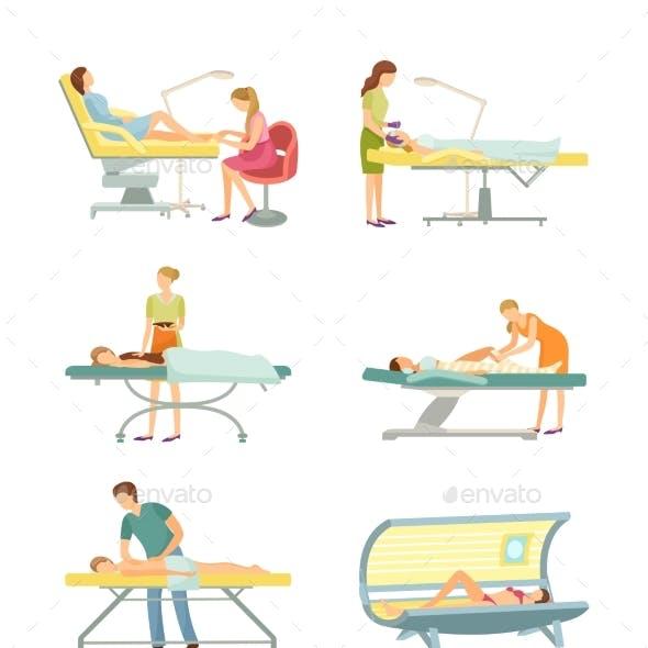 Spa Salon Pedicure and Tanning Process Set Vector