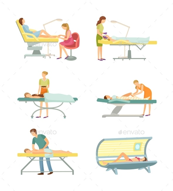 Spa Salon Pedicure and Tanning Process Set Vector - People Characters