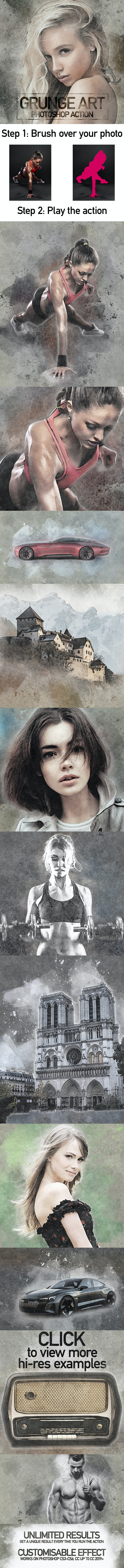 Grunge Art Photoshop Action - Photo Effects Actions