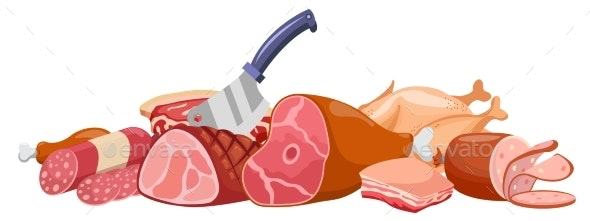 Meat Banner Vector - Food Objects