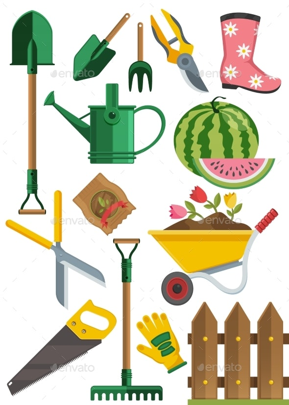 Gardening Icons Set - Flowers & Plants Nature