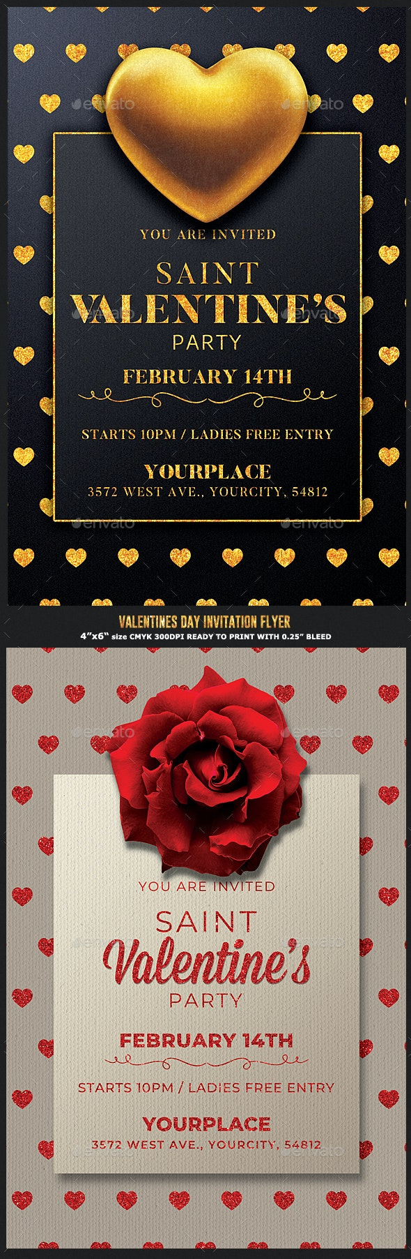 2 Valentines Day Flyer Invitation - Events Flyers