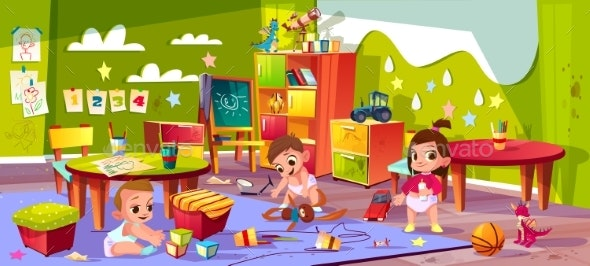 Vector Cartoon Kindergarten - Backgrounds Decorative