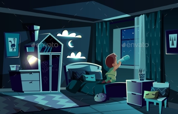 Vector Night Room - Backgrounds Decorative