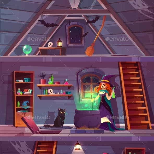 Witch in House with Cellar Attic Vector