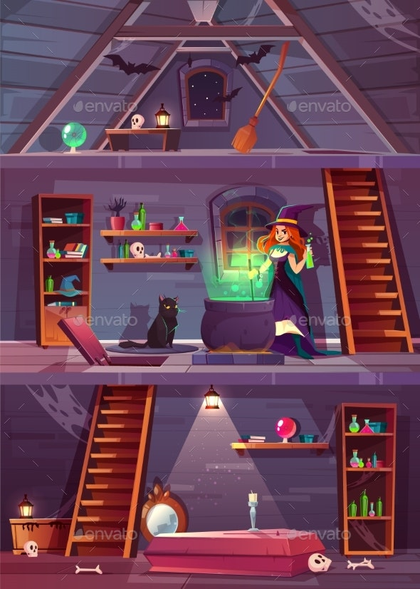 Witch in House with Cellar Attic Vector - Backgrounds Decorative