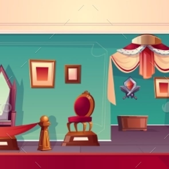Vector Museum Background with Throne Medieval