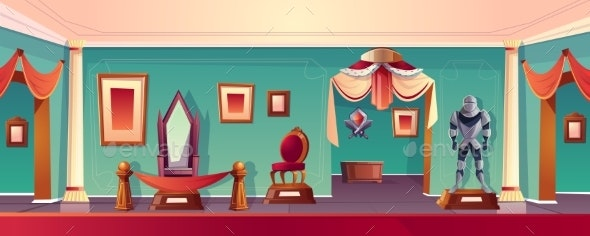 Vector Museum Background with Throne Medieval - Backgrounds Decorative