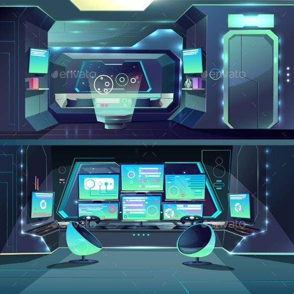 Vector Futuristic Spaceship Data Center Interfaces - Backgrounds Decorative