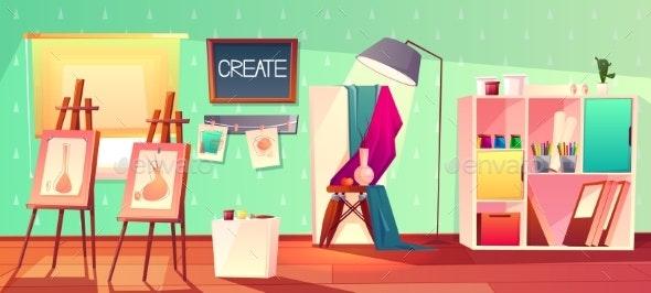Vector Art Studio Interior - Backgrounds Decorative
