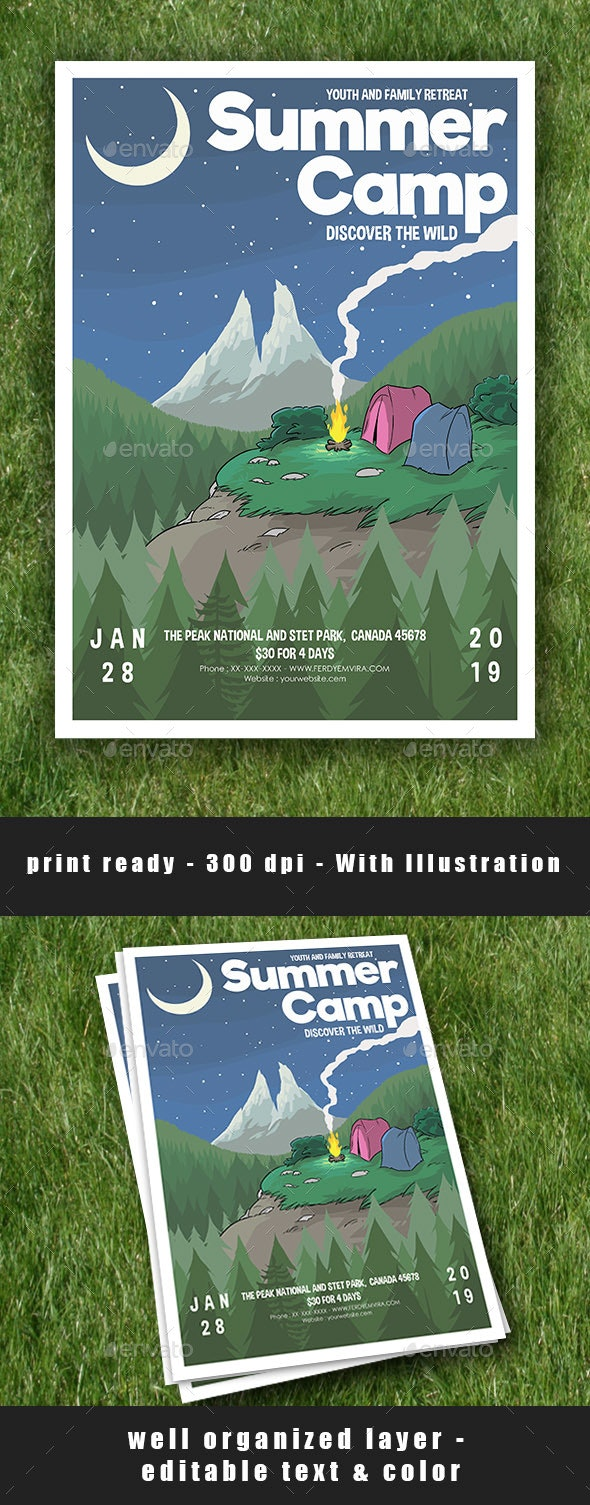 Summer Camp Flyer Poster - Print Templates