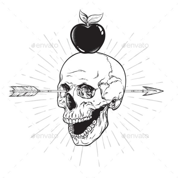 Human Skull Pierced with Arrow - Miscellaneous Vectors