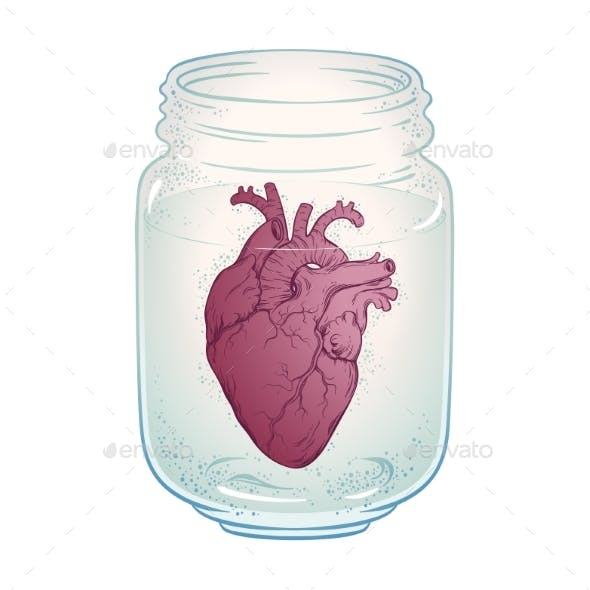 Human Heart in Jar