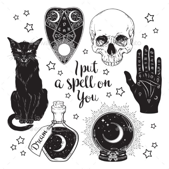 Set of Magic Objects Line Art