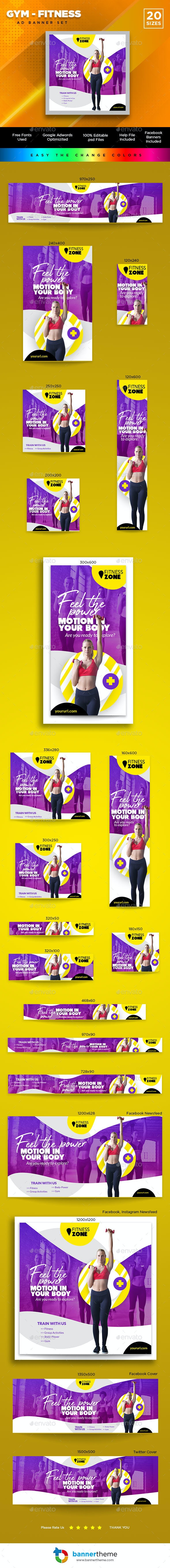 Gym & Fitness Banner - Banners & Ads Web Elements
