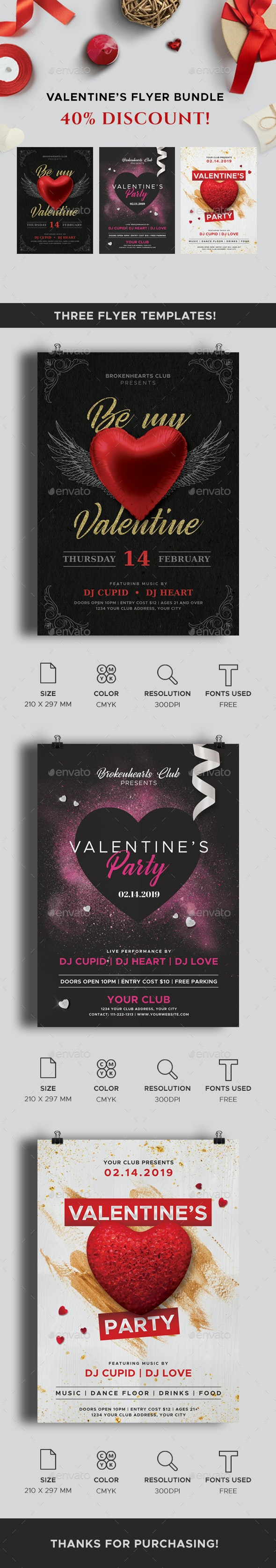 Valentine's Day Flyers Bundle - Clubs & Parties Events
