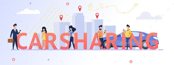 Illustration Group People Using Carsharing Service - Services Commercial / Shopping