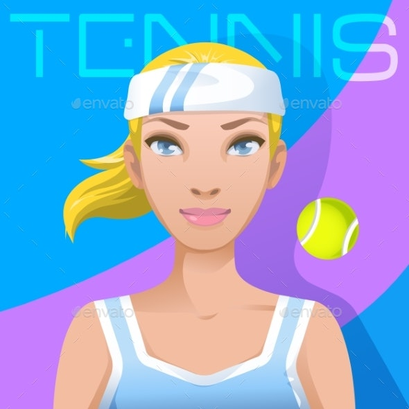 Young Woman Tennis Player Avatar - Sports/Activity Conceptual