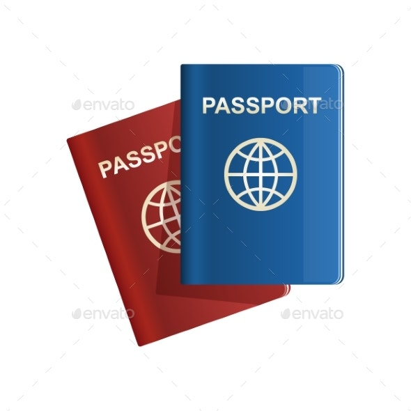 Red and Blue Leather Passport Icon Vector - Travel Conceptual