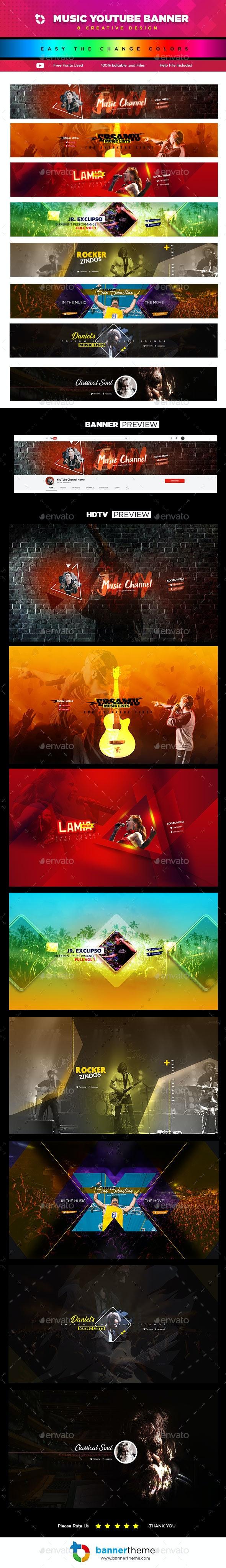 8 Creative Music YouTube Banners - YouTube Social Media